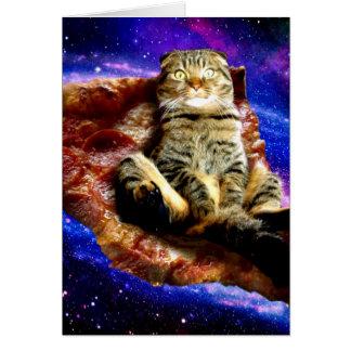 pizza cat - crazy cat - cats in space card
