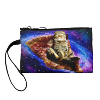 pizza cat - crazy cat - cats in space coin purse