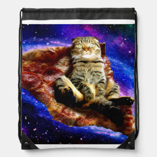pizza cat - crazy cat - cats in space drawstring bag