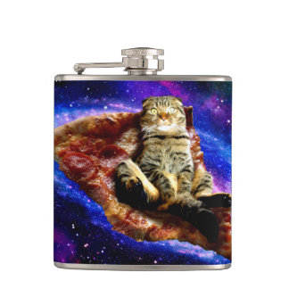 pizza cat - crazy cat - cats in space hip flask