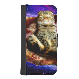 pizza cat - crazy cat - cats in space iPhone SE/5/5s wallet case