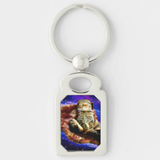 pizza cat - crazy cat - cats in space key ring