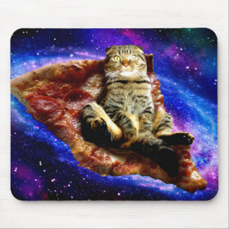 pizza cat - crazy cat - cats in space mouse pad