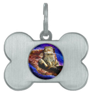 pizza cat - crazy cat - cats in space pet name tag