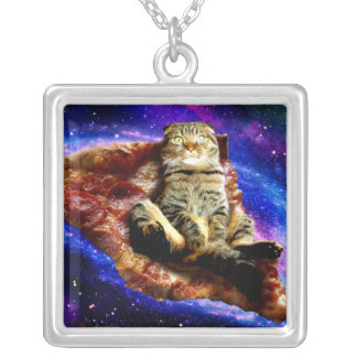 pizza cat - crazy cat - cats in space silver plated necklace
