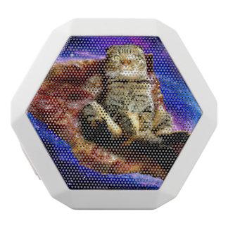 pizza cat - crazy cat - cats in space white bluetooth speaker
