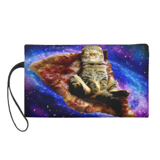 pizza cat - crazy cat - cats in space wristlet