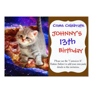 pizza cat - cute cats - kitty - kittens card
