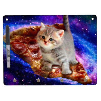 pizza cat - cute cats - kitty - kittens dry erase board with key ring holder