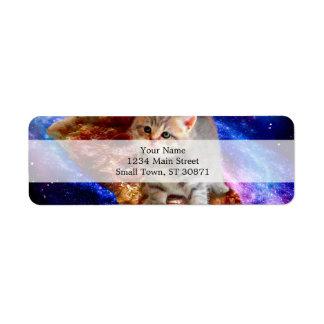 pizza cat - cute cats - kitty - kittens return address label