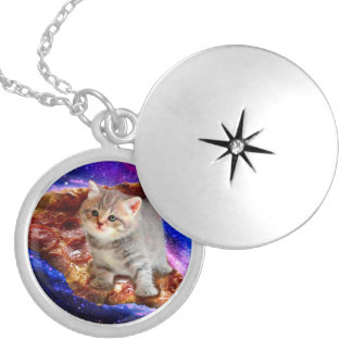 pizza cat - cute cats - kitty - kittens silver plated necklace