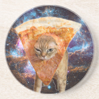Pizza Cat in Space Wearing Pizza Slice Coaster