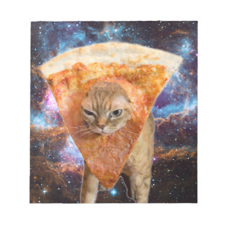 Pizza Cat in Space Wearing Pizza Slice Notepad