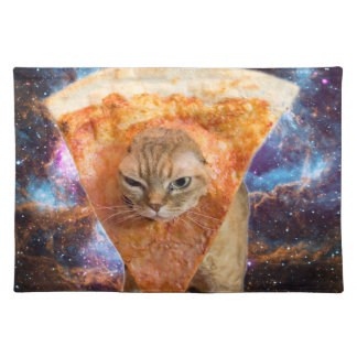 Pizza Cat in Space Wearing Pizza Slice Placemat
