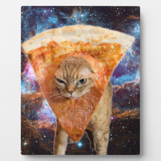 Pizza Cat in Space Wearing Pizza Slice Plaque