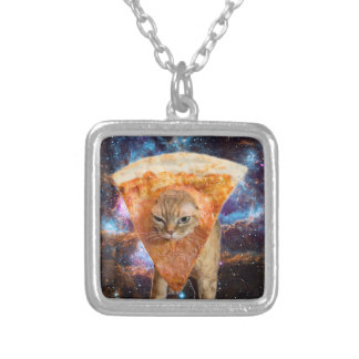 Pizza Cat in Space Wearing Pizza Slice Silver Plated Necklace