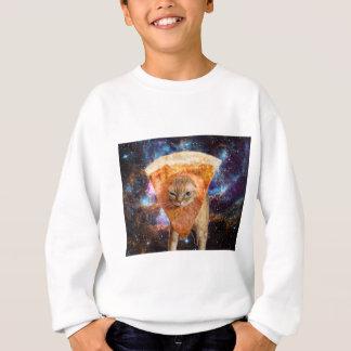 Pizza Cat in Space Wearing Pizza Slice Sweatshirt