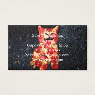 pizza cat - kitty - pussycat business card