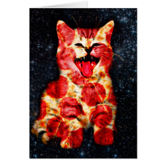 pizza cat - kitty - pussycat card