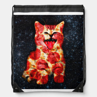 pizza cat - kitty - pussycat drawstring bag