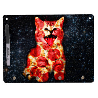 pizza cat - kitty - pussycat dry erase board with key ring holder