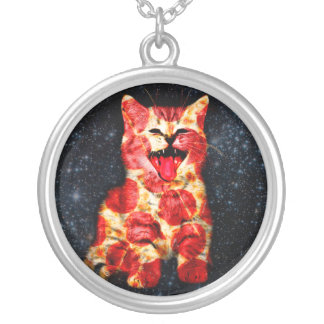 pizza cat - kitty - pussycat silver plated necklace
