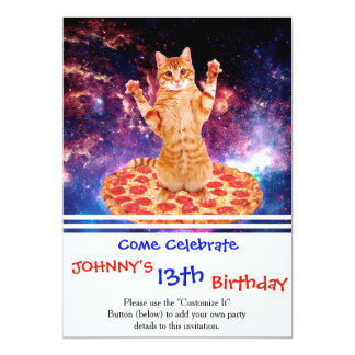 pizza cat - orange cat - space cat card