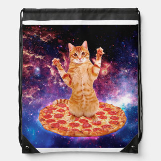 pizza cat - orange cat - space cat drawstring bag