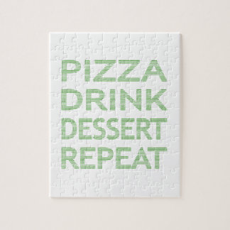 PIZZA DRINK DESSERT REPEAT  - strips - blue Jigsaw Puzzle