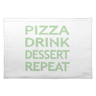 PIZZA DRINK DESSERT REPEAT  - strips - blue Placemat
