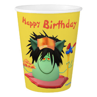 Pizza Eating Monster Birthday Paper Cup