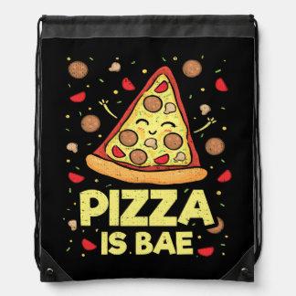 Pizza Is Bae - Cute Kawaii Funny Cartoon - Novelty Drawstring Bag