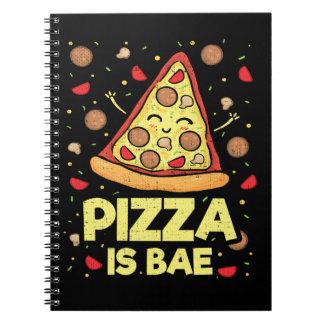 Pizza Is Bae - Cute Kawaii Funny Cartoon - Novelty Spiral Notebook
