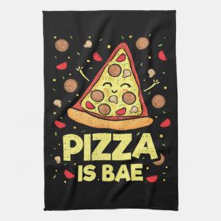 Pizza Is Bae - Cute Kawaii Funny Cartoon - Novelty Tea Towel
