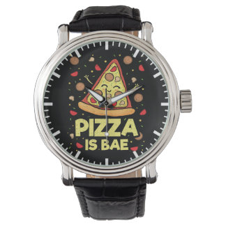 Pizza Is Bae - Funny Cartoon - Novelty Watch