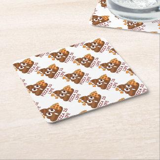 Pizza Is Life Poop Emoji Square Paper Coaster