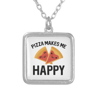 Pizza Makes Me Happy Silver Plated Necklace
