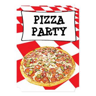 Pizza Party Birthday  Invitations