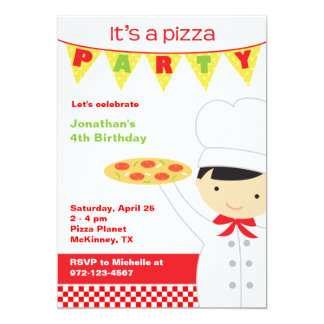 Pizza Party Boy Invitations