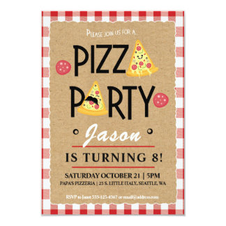 Pizza Party Child's Birthday Party Invitation