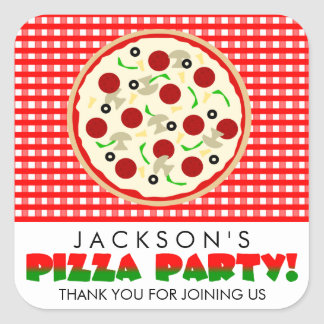 Pizza Party Favor Stickers