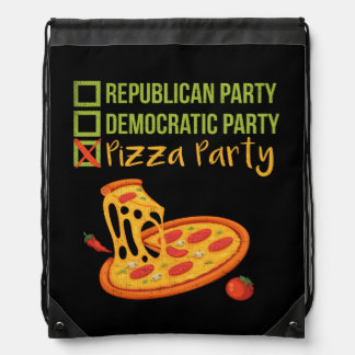 Pizza Party - Funny Novelty Voting Political Drawstring Bag