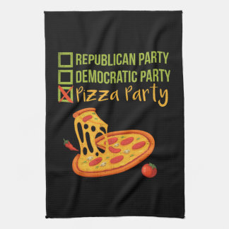 Pizza Party - Funny Novelty Voting Political Tea Towel