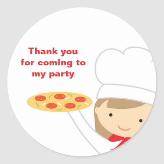 Pizza Party Girl Stickers Round Stickers