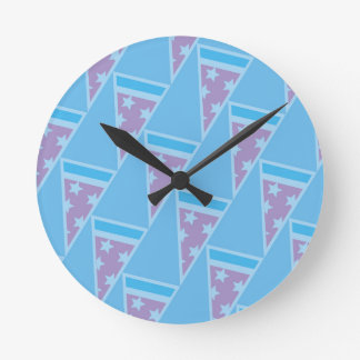 Pizza Party Pattern Round Clock