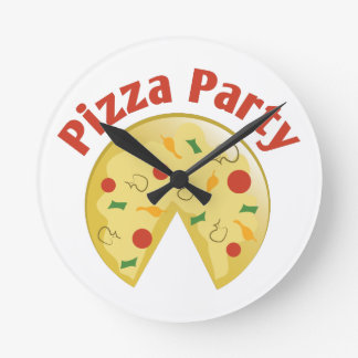 Pizza Party Round Clock