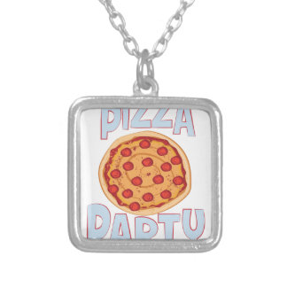 Pizza Party Silver Plated Necklace