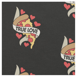 Pizza party true love fabric