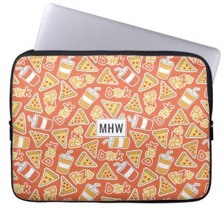 Pizza Pattern custom monogram laptop sleeves