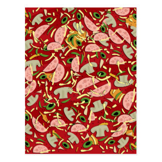 Pizza pattern postcard